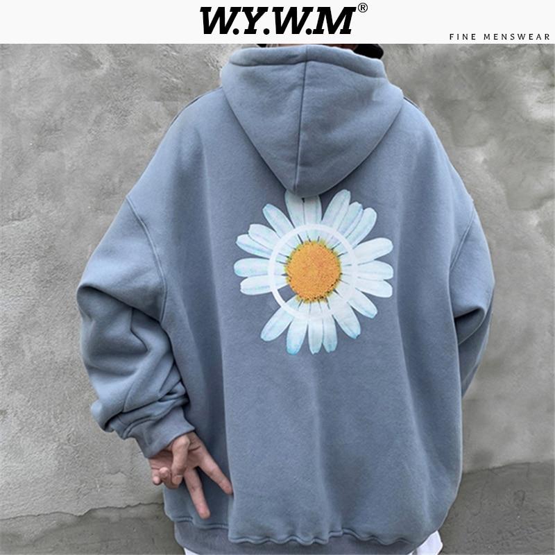 WYWM Men's Flower Printed Spring Sweatshirt Men 2020 Fashion Korean Ins Hooded Sweatshirt Male Soft Basic Hoodies Streetwear