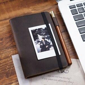 Image 1 - Feld Notizen Abdeckung Tägliche Tragen Memo Buch Echtem Leder Notebook Planer Karte halter Tasche Vintage Schreibwaren