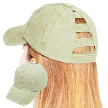цена на Women Vintage Distressed Washed Cotton Baseball Cap Solid Color Hollow Out Ladder Ponytail Hole Adjustable Snapback Hat