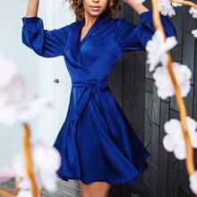Women Sexy Sashes Lantern Sleeve Party Dress Office Ladies V Neck Solid A-line Mini Dress 2020 Summer Casual Elegant Women Dress