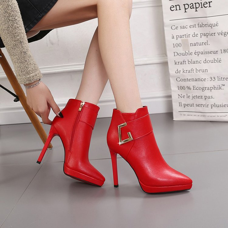W- Best selling solid color sexy fashion winter ultra high heel waterproof platform Martin boots zipper female buckle boots image