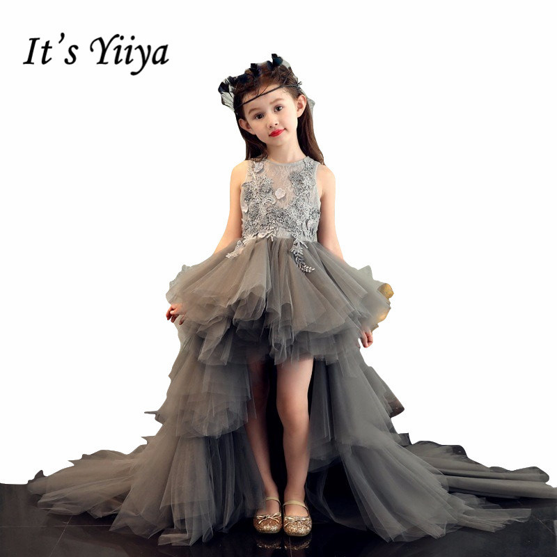 Dark Gray Pageant   Dresses   For   Girl   It's Yiiya B023 Appliques Tiered Train   Flower     Girl     Dresses   for Weddings O-neck Pricess Gown