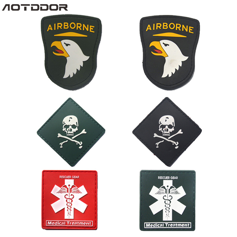 101 Eagle Head Succor Gas Skeleton PVC Disposable Stickers Shoulder Emblem Pack Posted Velcro Morale Patch