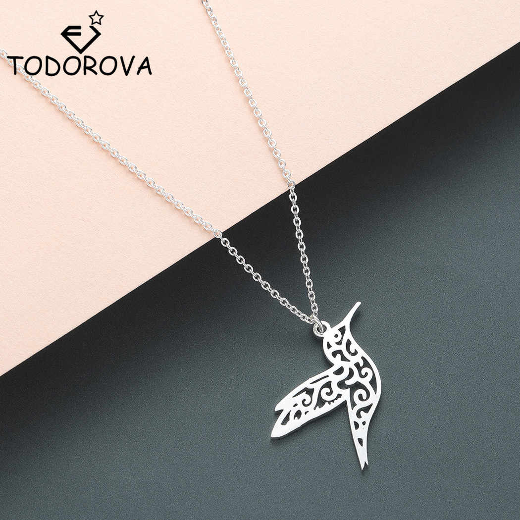 Todorova Stainless Steel Guardian Angel Wings Necklaces Pendants for Women Jewelry Hummingbird Phoenix Necklace Gold Collier