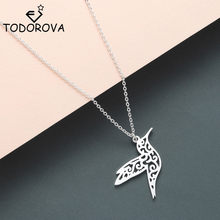 Todorova Stainless Steel Guardian Angel Wings Necklaces Pendants for Women Jewelry Hummingbird Phoenix Necklace Gold Collier(China)