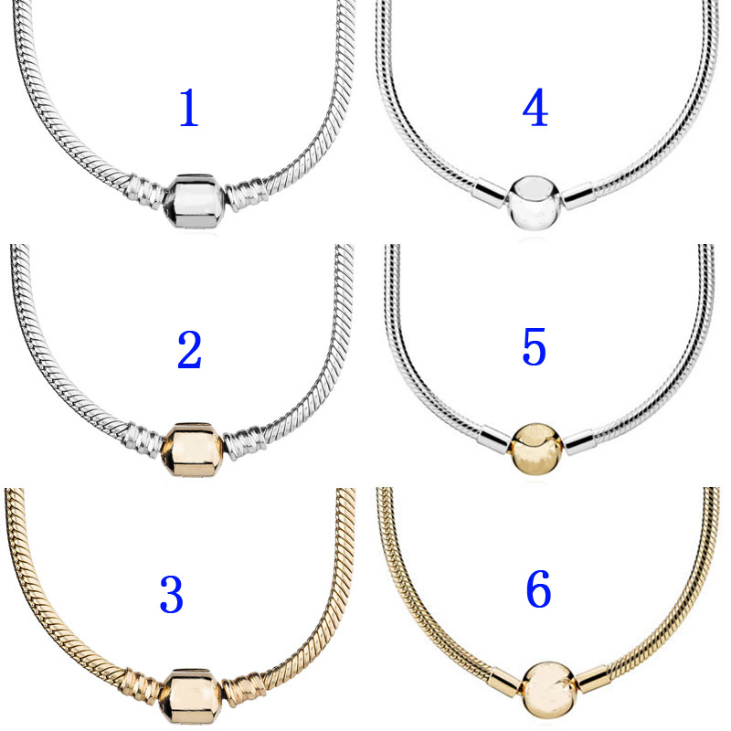 Gold Color Lobster Barrel & Ball Clasp Snake Chain Necklace For Women Wedding Gift Pandora Jewelry 925 Sterling Silver Necklace(China)