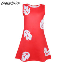 Girls A-line Lilo Cosplay Dress Red Leaves Print Nightwear For Girl Milksilk Fabric Party Vestidos 3-9 Years Old 1755(China)