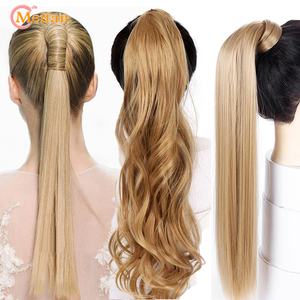 MEIFAN Long Straight/Curly Clip In Hair Tail Extension Nature False Hairpiece With Hairpins Synthetic Ombre Velcro Fake Ponytail