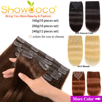 ShowCoco Clip In Hair Extensions Human Hair 200G Natural Extension Machine Remy 10 Pieces Silky Straight Human Hair Clip Ins