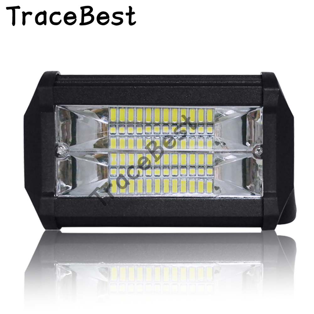 1Pcs 5 inch <font><b>12</b></font>-<font><b>80V</b></font> IP67 Spot 72W worklight <font><b>led</b></font> double row long strip light off-road roof top light image