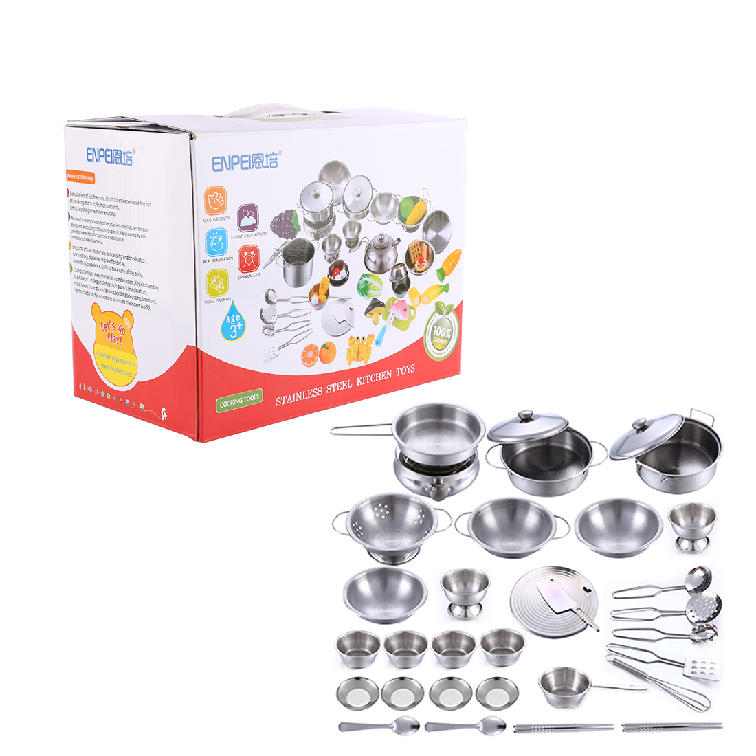 Stainless Steel Pots And Pans Cookware Pretend Kitchen Play Set For Kids 16pcs