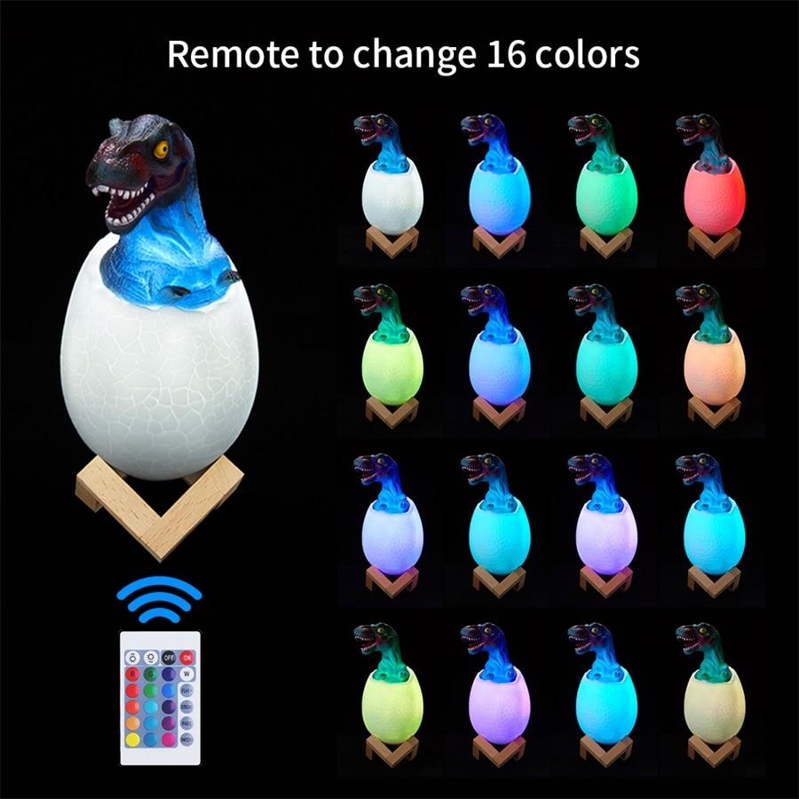 Dinosaur Egg Bedside Lamp - 3D Printed Touch Sensor Led Night Light In 16 Colors