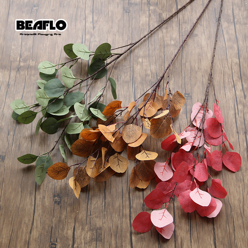1pc 80cm Long Plantas Artificiais Greenery Fake Plant Artificial Leaf Eucalyptus Apple Leaf For Garden Party Wedding Decoration