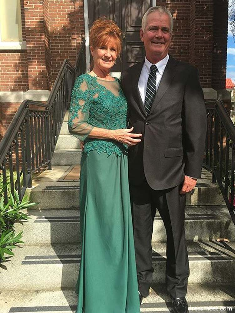 Green Mother Of The Bride Dresses A-line 3/4 Sleeves Chiffon Appliques Lace Long Groom Mother Dresses For Weddings