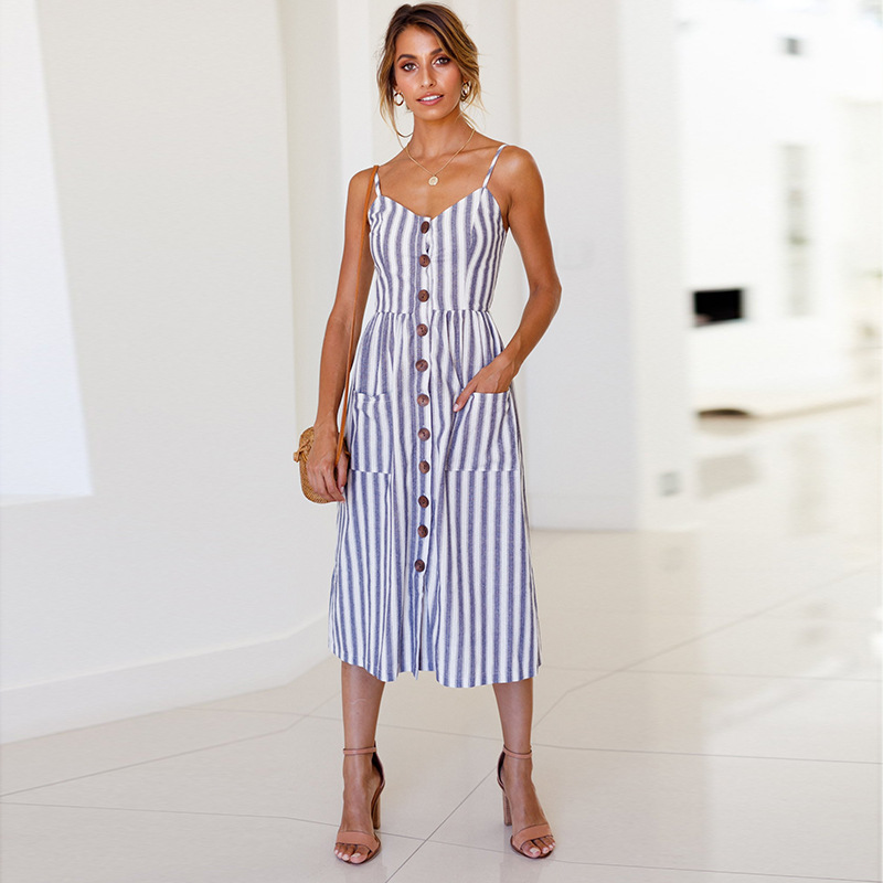 2018 New LOSSKY Women Print Floral Stripe Bohemian Dress V-Neck Sleevele Sexy Button Beach Casual Boho Midi Dress Plus Size 3XL