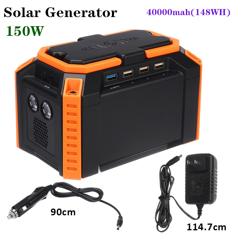 150W Max LCD Solar Power Storage Generator Inverter 40000mah Outdoor Portable charging station Power Supply USB Energy Storage