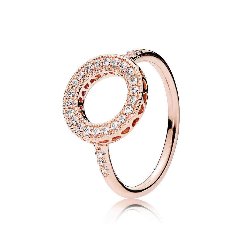 Asli 925 Sterling Silver Rose Emas Hati Halo Cincin untuk Wanita Pernikahan Pesta Ulang Tahun Hadiah Fashion Perhiasan