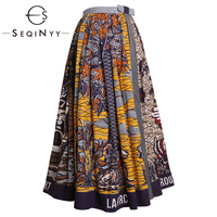 SEQINYY Cotton Skirt 2020 Summer Spring New Fashion Design Women Long Skirt A line Vintage Print