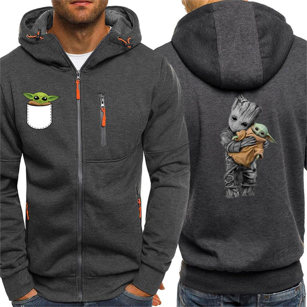 2020 Spring Sweatshirt Mens Hip Hop Jacket Groot And Baby Yoda Hoodies Men Star Wars Jacket Hot Sale Zipper Tracksuit Streetwear