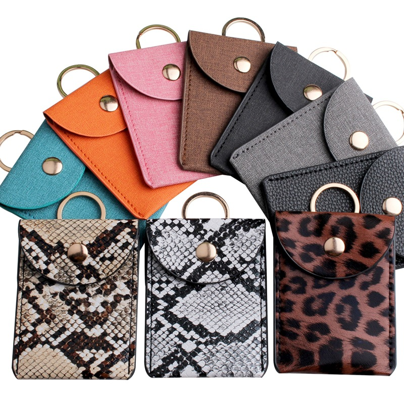 Fashion Leopard Print PU Function Card Case Business Card Holder Men Women Credit Card Bag ID Card Key Wallet With Keychain