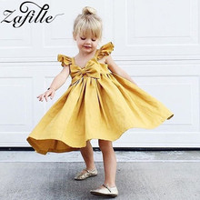 ZAFILLE Solid Baby Girl Clothes Flare Sleeve Summer Dress Infant Baby Girl Dress Bow Toddler Dress Girls Clothing Baby Clothing zafille summer dress for girl toddler sleeveless baby girl clothes solid kids clothes bow girls dress cute baby girl clothing