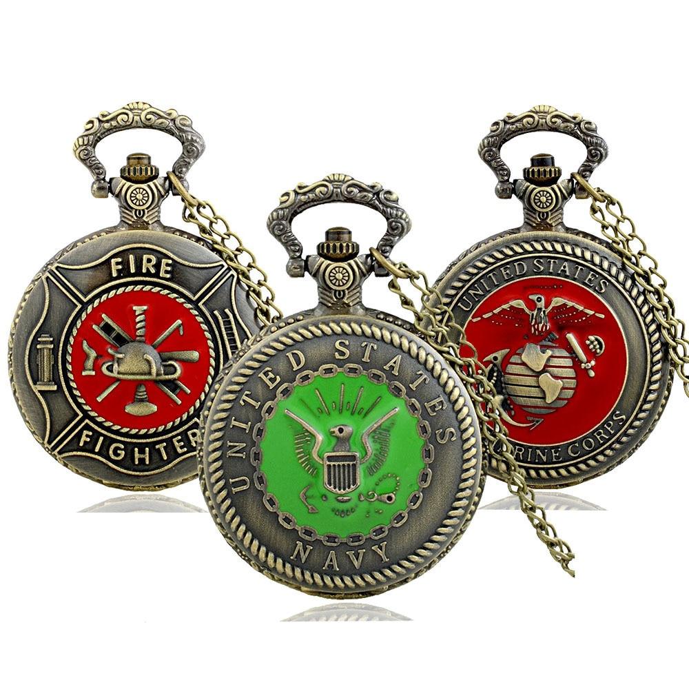 IBEINA Fire Fighter Army USMC Theme Full Hunter Quartz Engraved Fob Retro Pendant Pocket Watch Chain Gift