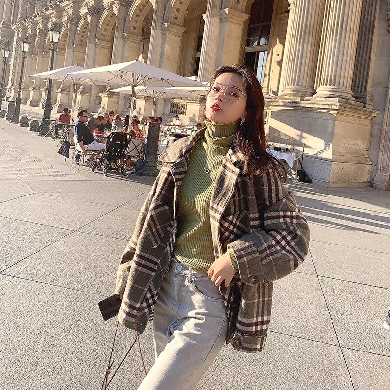 MISHOW 2019 Autumn Winter Gray Thick Woolen Coat Women Causal Lapel Striped Plaid Long Sleeve Coat Jackets  MX19C9538 3