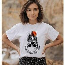 T-shirt imprimé coloré Hello Darkness My Old Friend pour femme, haut tendance, humoristique, tête de mort, aventure, randonnée