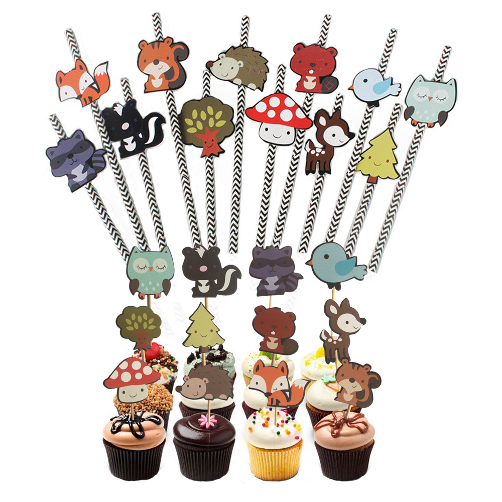 24pcs Forest Animals Theme Cake Toppers 12pcs Animal Friends Paper Straw For Baby Shower Kids Birthday Party Decorations Favors