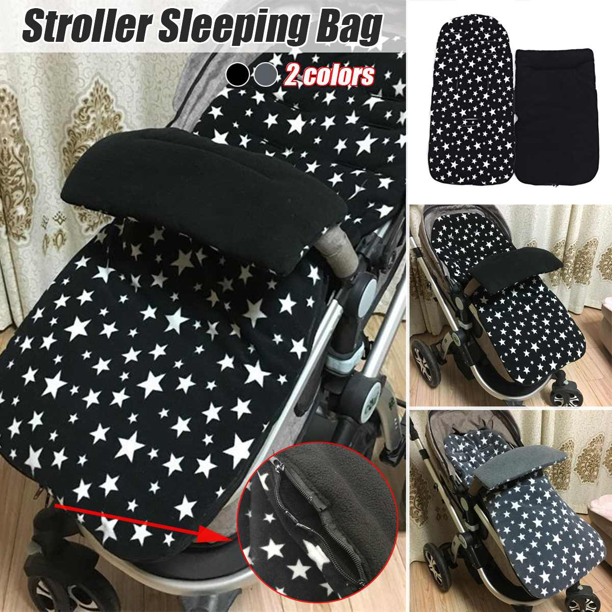 Universal Baby Toddler Winter Stroller Thick Star Polar Fleece Sleeping Bag Keep Warm Newborn Envelope Diaper In Stroller