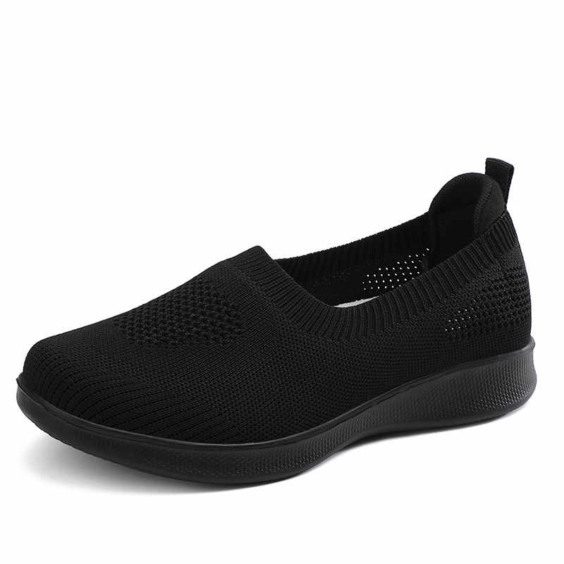 PINSEN 2020 여성을위한 패션 플랫 신발 통기성 메쉬 여름 신발 여성 스니커즈 슬립 온 발레 플랫 여성 캐주얼 신발