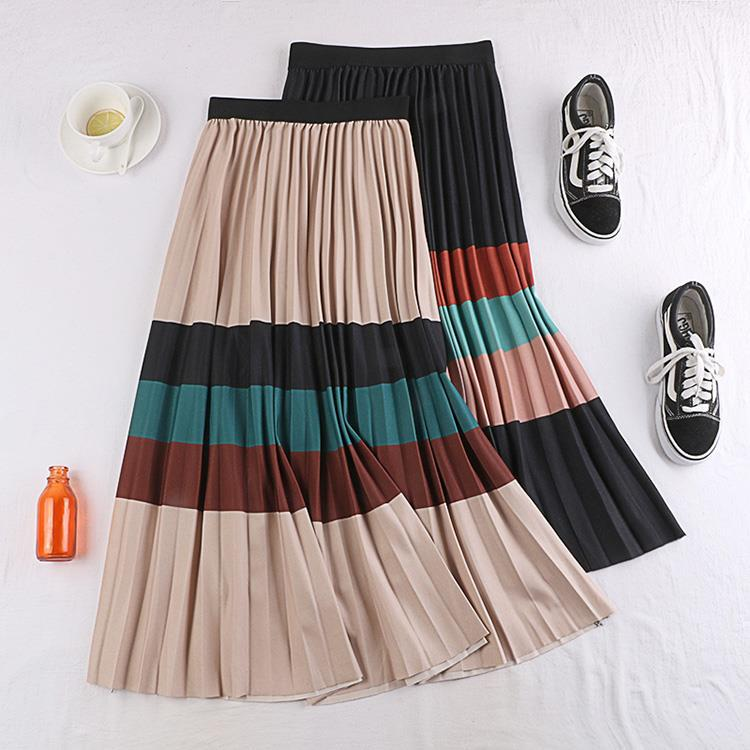 2020 Autumn& Winter New Arrival Mid Length Korean Style A-line Skirt Stitching Contrast Striped Skirt Pleate Skirt Free Shipping