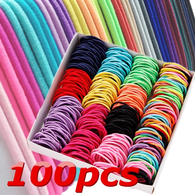 100PC/set Hair Accessories Women Rubber Bands Scrunchy Elastic Hair Bands Girls Headband Decorations Ties Gum For Hair