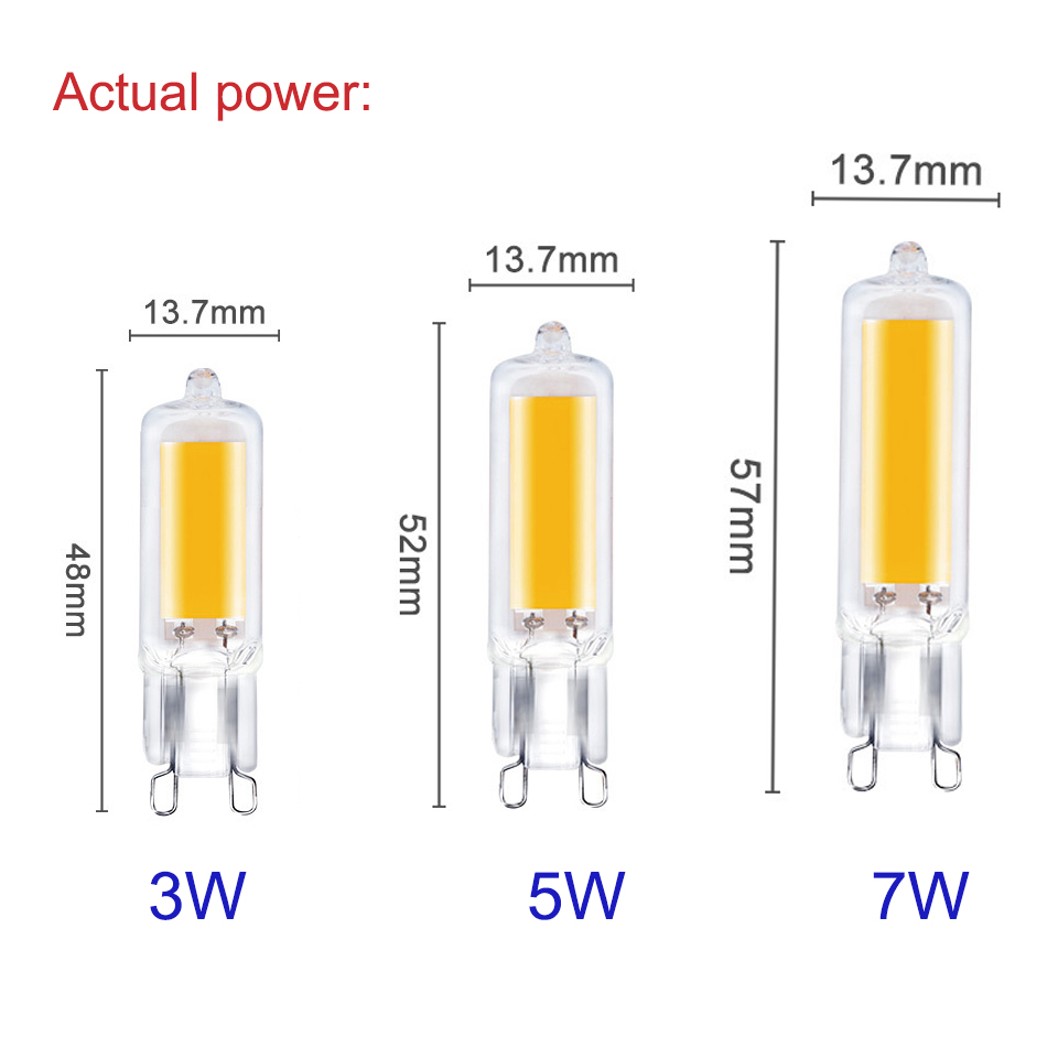 G9 LED Bulb Lighting 5W 7W 10W COB Glass Body LED Lamp Dimmable 220V Replace Halogen Ultra Bright Light Bulbs Home