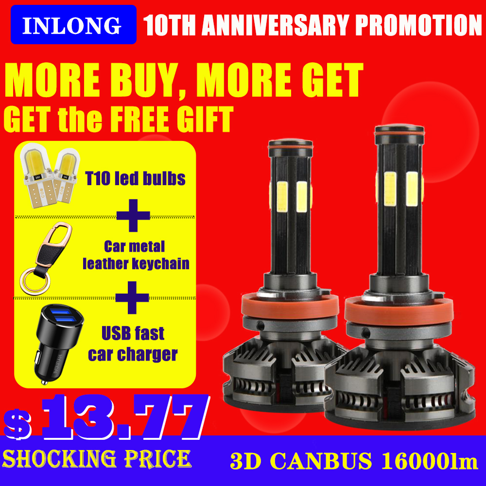 INLONG H7 H4 LED Bulbs Canbus No Error H11 Led Headlight H8 9005 Hb4 9006 Hb3 Led Lamps 16000LM Auto Car Accessories Fog Lights