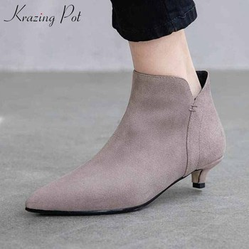 krazing pot popular mature women sexy pointed toe cow suede boots med heels winter solid side zipper daily wear ankle boots L03