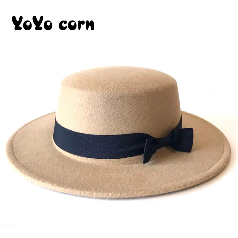 YOYOCORN Men Sombrero Bowler Church Trilby Hats For Women Gorra Mujer Black Ribbon Bow Cap Chapeau Femme Vintage Felt Fedora Hat
