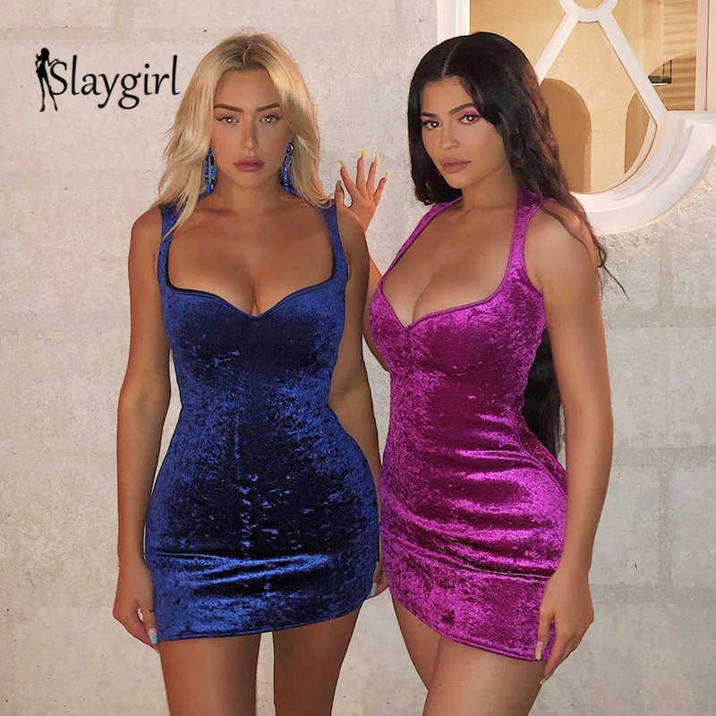 Slaygirl 2019 mode velours robe Sexy fête kyliejenner Mini automne robes femmes femme robe moulante Club Vestidos