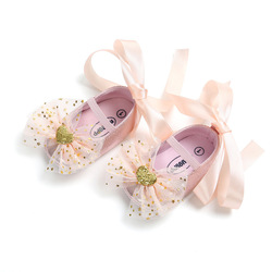 Туфли для новорожденных девочек, Нескользящие, из ПУ кожи, с мягкой подошвой, с розовым бантом, обувь для начинающих ходить детей, Мокасины, к...