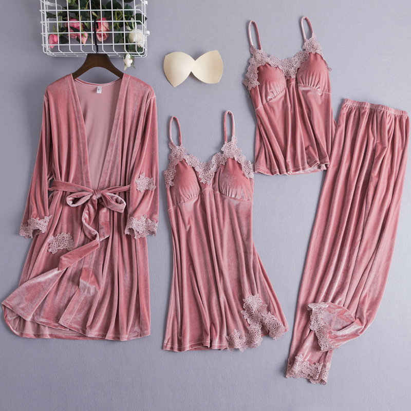 4PCS Sleepwear Sleep Set Womens Velour Nightwear Robe V-Neck Pijamas Softy Gown Sleepshirt Autumn Winter Pajamas Suit Negligee