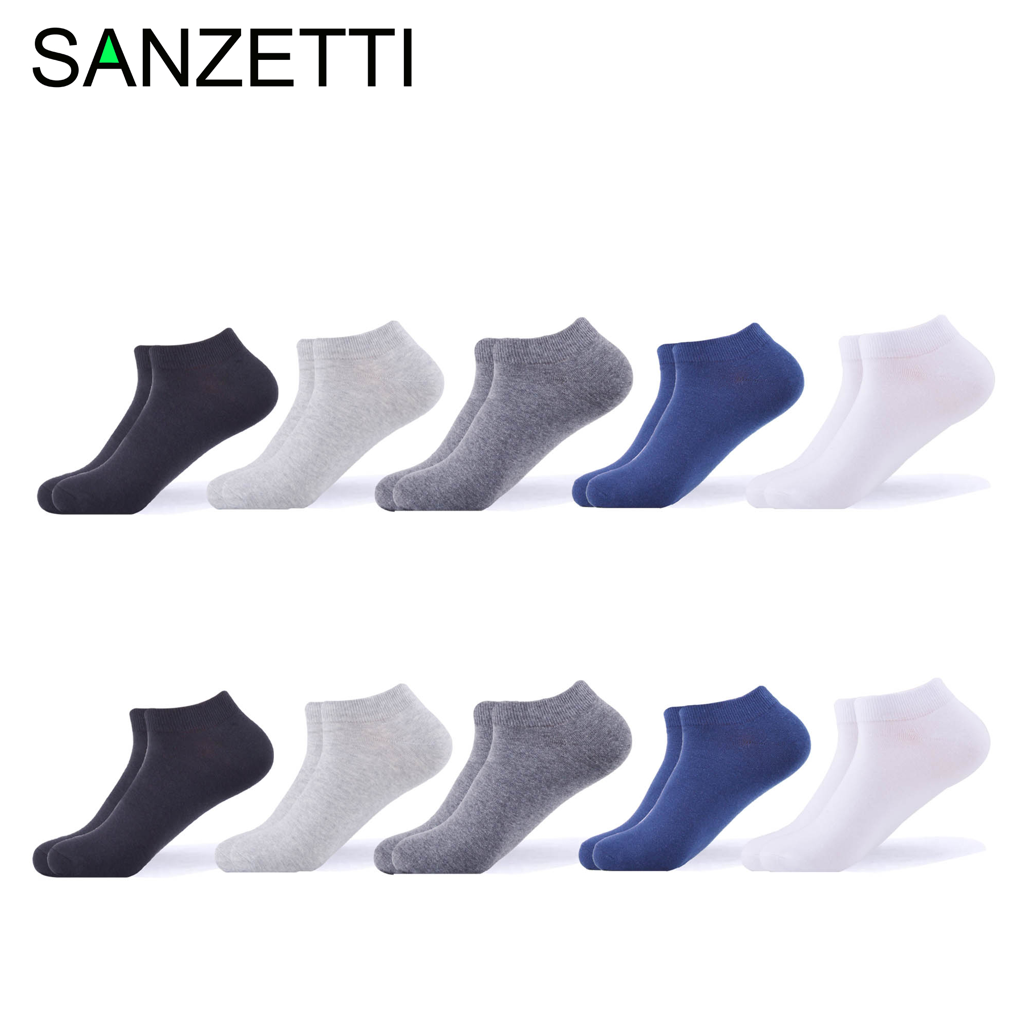 SANZETTI Brand Comfortable Men's Casual Combed Cotton Classic Business Solid Socks Party Gift Breathable Soft Dress Ankle Socks
