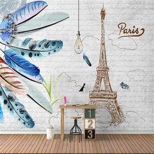 Milofi Modern Simple Nordic Feather Eiffel Tower Retro Background Wall Paper(China)
