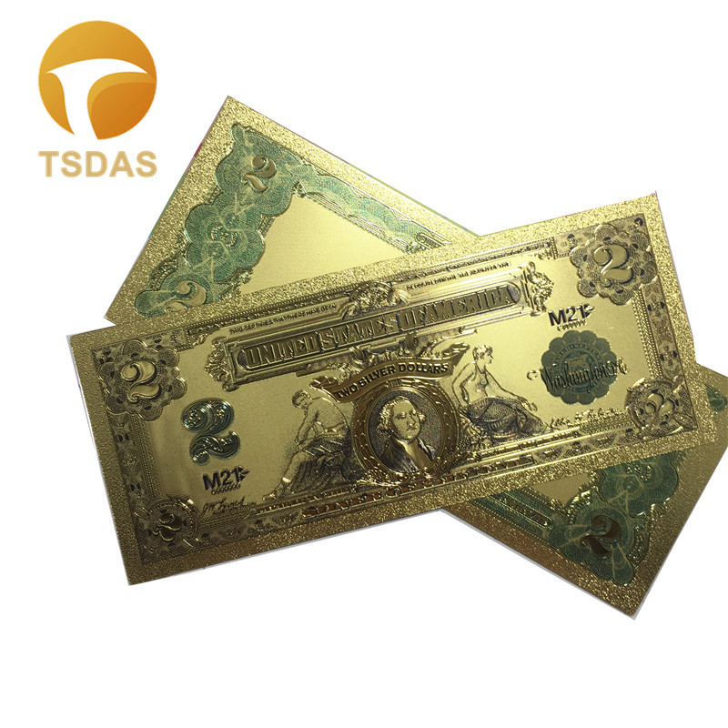 1899 Year's America Colorful Gold Banknote USD 2 24k Gold Plated 10Pcs Set Gold Foil Banknote Currency Bill Worth Collection image
