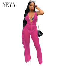 YEYA Summer Sleeveless Hollow Out See Through Ruffles Long Romper Women Jumpsuits Sexy V-neck Bodycon Green White Playsuits