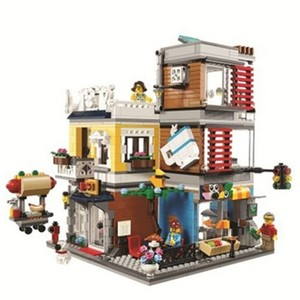 Создатель города 3 в 1 домик для домашних животных магазин игрушек и кафе Lepingly блоки фигурки модели наборы кирпичи классика для детей игрушк...