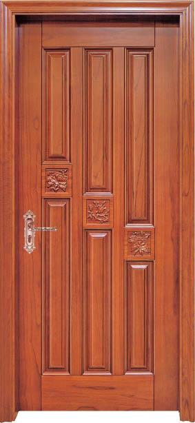 Luxury Carving Designs Thailand Oak Interior Single Solid Wood Door  C008