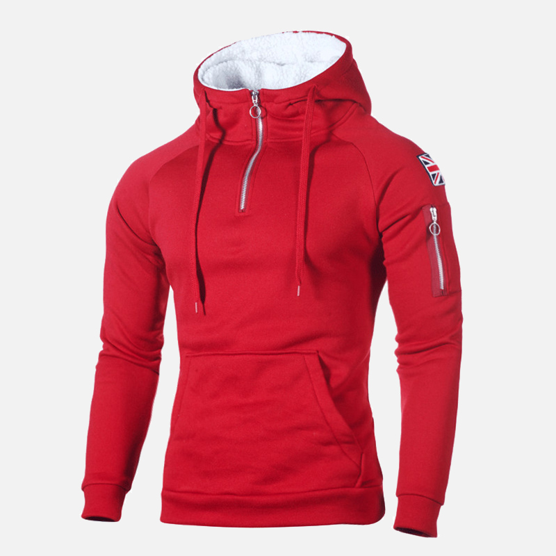 Winter Hooded Fleece Thicken Mens Sweatshirt Zipper Badge Pockets Patchwork Male Hoody 2020 Casual Solid Warm Man Pullover Tops