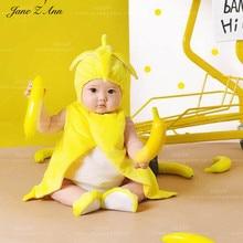 Jane Z Ann zuigeling unisex banaan fruit pluche leuke kostuum set gele hoed + bodysuit + vest + sokken foto prop nieuwe kostuum baby