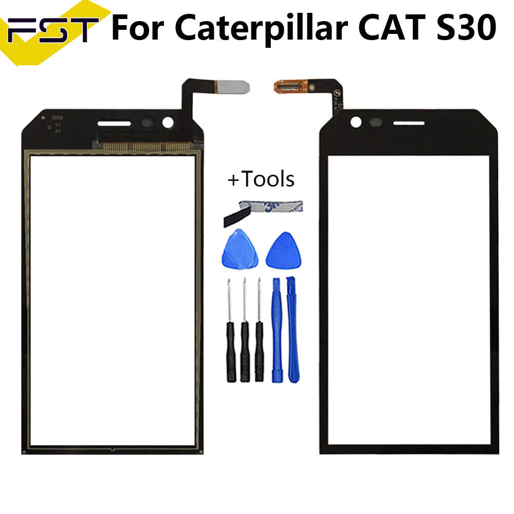 Schwarz 4,5 zoll Touch Screen Digitizer Für Caterpillar Cat S30 Katze S 30 Touch Screen Front Glas Panel Objektiv Sensor + werkzeuge