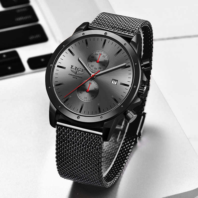 Mensนาฬิกาสุดหรูแบรนด์LIGEนาฬิกาผู้ชายChronographเต็มรูปแบบกันน้ำกันน้ำนาฬิกาข้อมือควอตซ์ชายนาฬิกา + กล่อง